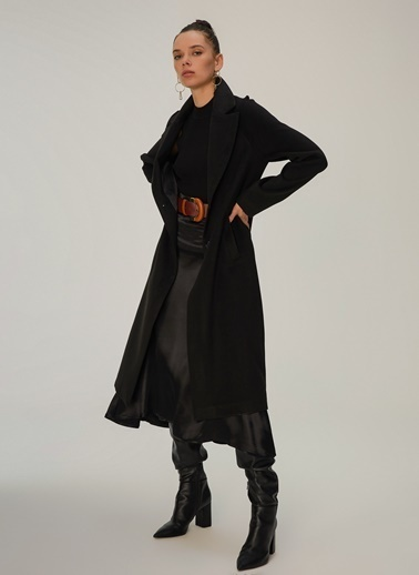 NGSTYLE Düğmeli Ceket Yaka Kaban Siyah